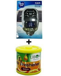 Car Perfume Ambi Pur 7ml Starter Kit & Liboni Air Freshner - Aqua&Lemon, yellow