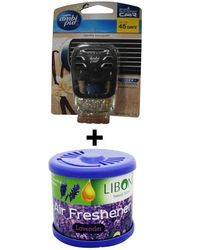 Car Perfume Ambi Pur 7ml Starter Kit & Liboni Air Freshner - Vanilla&Levendor, blue