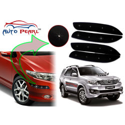 Auto Pearl - Premium Quality Car LED Blinking Bumper Protector for Toyota Fortuner - Set of 4Pcs, black