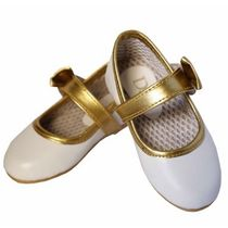Dchica Chic Slipper Style Girl Shoes, white and gold