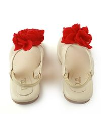 Dchica Flowery Feet Girl Sandals in Cream and Red,  cream