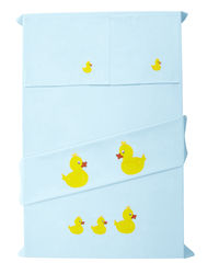 Baby Rap The Duck Family 2 Cot Sheets & 2 Pillow Covers Set, blue