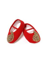 Dchica Exqusite Paisely Motifs Shoes For Baby Girls,  red