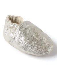 Dchica Shimmery Soft Faux Leather Shoes For Baby Girls, silver