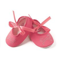 Dchica Crystal Embellishment Little Bow Shoes, peach