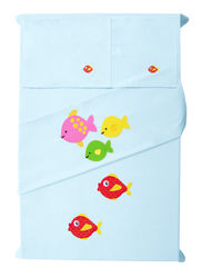 Baby Rap The Fish Family 2 Cot Sheets & 2 Pillow Covers Set, blue