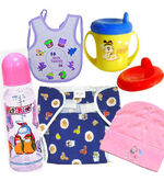 Baby Diaper Bib Cap Set (Multicolor)