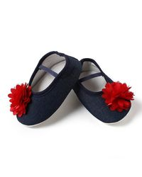 Dchica Bright Red Flower and Denim Shoes For Baby Girls,  blue