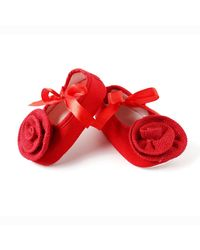 Dchica Adorable Red Flower Shoes For Baby Girls,  red