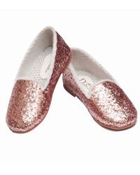 Dchica Shimmery Loafer Shoes For Baby Girls, golden and pink