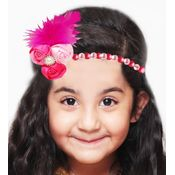 Dchica A crown feather and rosettes for her, pink and fuschia, 3-15 years