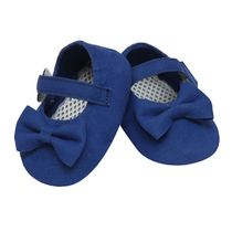 Dchica Cool Blue Shoes For Baby Girls With Soft Soles, navy blue