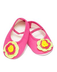 Dchica Neon Chic Flower Booties For Baby Girls,  pink