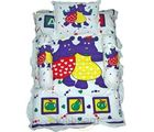 White Printed Bedding Set (Multicolor)