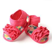Dchica Fuschia Flowers Baby Girl Sandals,  pink