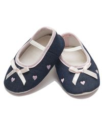 Dchica Denim Bow and Little Hearts Booties For Baby Girls, blue and pink
