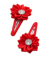 Dchica My shiny flower set of 2 clips for baby girls,  red