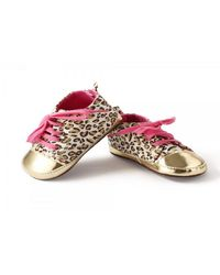 Dchica Chic Animal Print Gold Sneakers For Baby Girls, golden