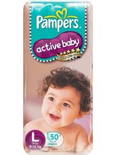 Pampers Active Baby Diapers Large 50 Pieces (9 to 14 kg)