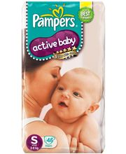 Pampers Active Baby Diapers Small 46 Pieces (3 to...