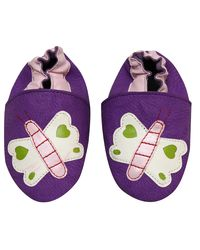 Dchica Faux Leather Butterfly Shoes For Baby Girls, purple