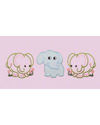Baby Rap Duck in the rain 'N' Smiling Elephants 4 Cot Sheets & 4 Pillow Covers Set, pink and lemon