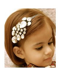 Dchica Golden Mughal Style Baby Girl Hairband, golden