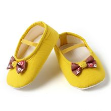 Dchica Little Yellow and Brown Bow Shoes For Baby Girls,  yellow