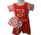 Kids Red T-Shirt Suit With Cap (Red)