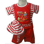Kids Red T-Shirt Suit With Cap, red