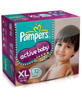 Pampers Active Baby Diapers Extra Large - 32 Pieces