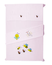 Baby Rap Buzzing Bees 2 Cot Sheets & 2 Pillow Covers Set, pink