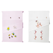 Baby Rap Giraffe 'N' Bee Families 4 Cot Sheets & 4 Pillow Covers Set, white and pink