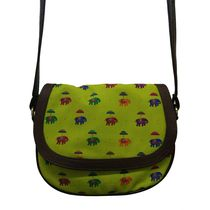 The Elephant Company Leather Sling Bag Flying Elephant Green,  green