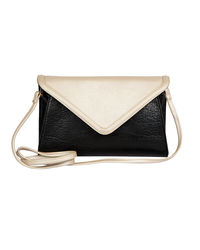 Lomond LM70 Sling Bag For Women, black and metallic silver