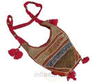 Hand Embroidery Zari Work Pink Shoulder Bag (Multicolor)
