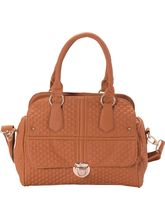 Button Flap Shell Quilted Faux Leather Satchel In Sandy Brown, Brown