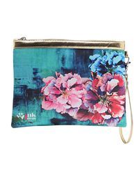 Wink Ideas Digital Printed Satin and Velvet Pouch For Women, blue