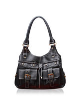 Fostelo Leather Handbag Multi Pockets, black