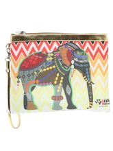 Wink Ideas Digital Printed Satin and Velvet Pouch For Women, multicolor