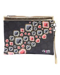 Wink Ideas Digital Printed Satin and Velvet Pouch For Women, black and red
