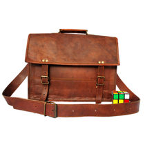 Rustictown Leather Satchel Pocketless Laptop bag, brown