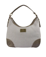 Ivory Tag Mignon Stripe Hobo, white