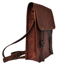 Rustictown Leather Satchel Vertical Laptop Bag, brown