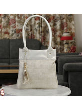 Beige Jute And Leatherite Tassel Tote Hand Bag (Beige)