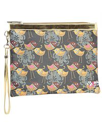 Wink Ideas Digital Printed Satin and Suede Pouch For Women,  dark brown
