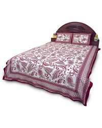 Little india Jaipuri Print Maroon Cotton Double Bed Sheet Set 355, maroon