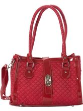 Cherry Red Quilted And Braided Handle Faux Leather Tote, Red
