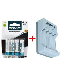 Envie Polo ECR-4 Battery Charger Combo with Envie AA 1000 4PL Ni-CD Rechargeable Battery