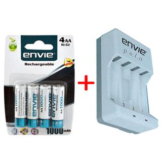 Envie Polo ECR-4 Battery Charger ( with 4PL AA 1000 Rechargeable Batteries)